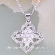 Le meilleur nouveau style autrichien CZ White Stone Necklace Set Rhodium plaqué bijoux est votre bon choix