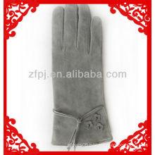 lady light grey sheepskin suede winter glove