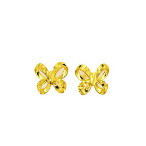 Yellow Gold ikatan simpul Stud Earring 18 K