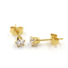 Fashion 18k Gold Stainless Steel Rhinestone Stud Earring