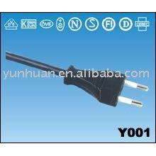 Cable de alimentación de CA con enchufe schuko de estilo europeo