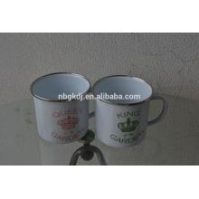 High Quality Printed Enamel Camping Mug with SS Rim