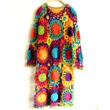 100% coton crocheté à la main classique vintage longue robe de soirée