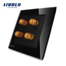 LIVOLO 2 sets Panneau en verre cristal noir Mur électrique Domicile Son / Acoustique Prise / fiche VL-W292A-11