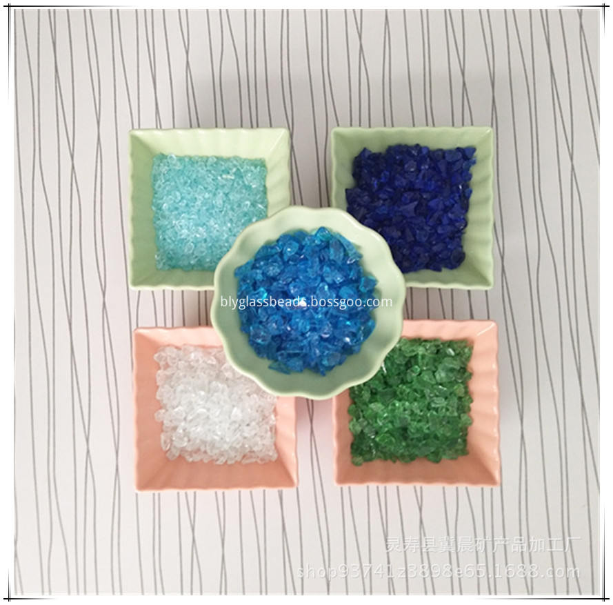 Aqua Blue fire glass for outdoor heating gas fire pits