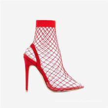 chengdu women shoe factory customized logo shoebox fashion sexy stiletto perspex heel pointed toe fishnet ankle boots