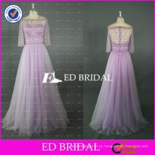 ED Bridal Elegant Bateau Neck Meia manga com bainha com contas Long Light Purple Tulle Prom Dress 2017