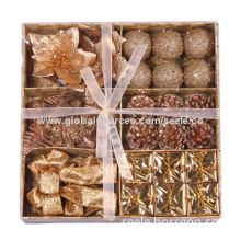 Small Size Christmas Tree Decoration Set, Contains 6-design Ornaments, Packed in Gift Box