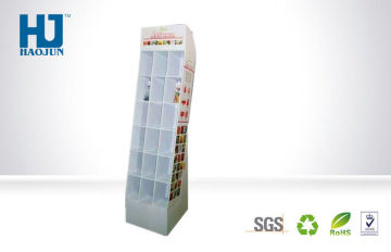 Cmyk Recyclable Corrugated Cardboard Magazine Book Display Stand For Supermarket