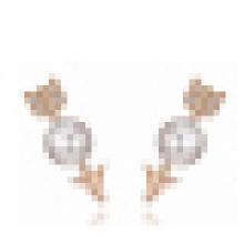 Pendientes de perlas de agua dulce naturales de plata de ley 925 simples