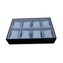 Faux-Leder-Schmucksache-Uhr 8 Kissen-Anzeigen-Behälter (TYL-8W-WBL)