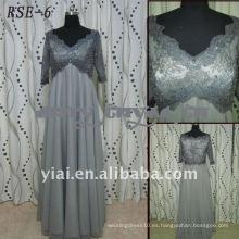 RSE-6 fabricantes directos 2011 nuevas señoras de moda gris gris chiffion vestido de noche