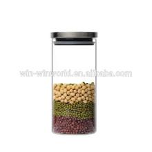 A caneca de vidro da tampa do metal selou frascos claros do armazenamento do açúcar do café do chá