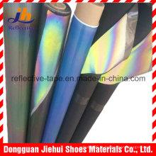 Couro PU reflexivo arco-íris para sapatos