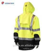 Heavy Duty Rip Stop Waterproof Workers 3M Reflective Raincoat Jacket With Hoods And Back Cap And Elastic Cuffs