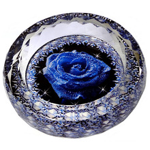 Vintage Round Cigar Ashtray with Rose Flower Crystal Glass Ashtray