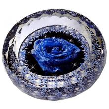 Cinzeiro de charuto rodada Vintage com rosa flor cinzeiro de cristal