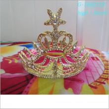 Venda por atacado personalizado costume tiara ouro rei coroa