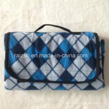 Outdoor plegável velo piquenique cobertor com alça / portátil