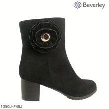 низкая цена деревянный каблук замши черный ботинок