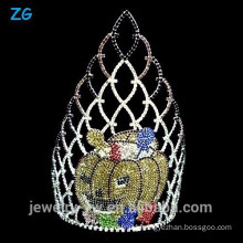 Large Colored Crystal Halloween Pumpkins Crown, Pageant Crown