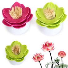 creative lotus flower cotton bud swab box storage toothpick holder