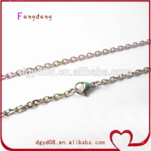 Rainbow stainless steel chain/chain necklace/stainless steel necklace for glass lockets
