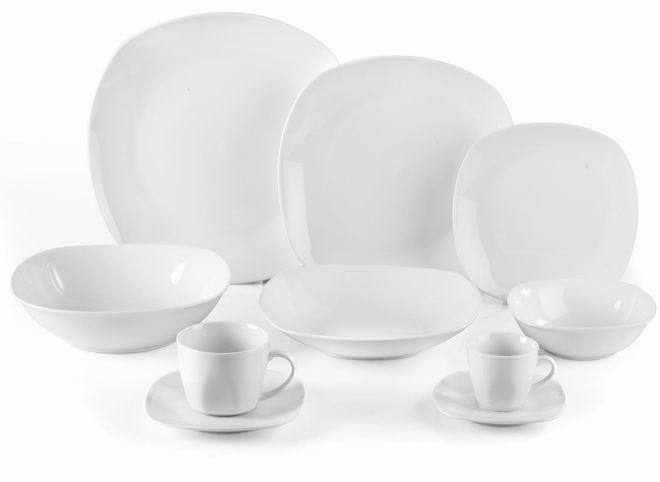 Rounded square White Porcelain Dinner Set