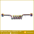 Fashion Stainless Steel Body Piercing Jewelry Gold Plated Spiral Industrial Barbell
