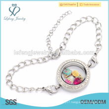 Customized stainless steel WaterDrop Chain bracelet, floating locket bracelet