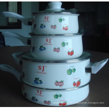 4 Stück Emaille Kochset inklusive zwei Strait Pot und zwei sacue Pfanne mit Bakelit Griff