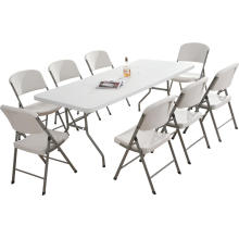 Mobiliário de casa Mesa e cadeiras de plástico de 6 pés para jantar Aluguer de eventos, mesa de jardim dobrável, mesa de jantar, mesa de café, mesa de acampamento