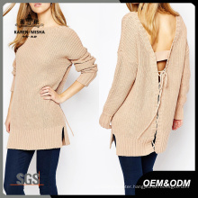 Women Basic Tie-Back Loose Sweater