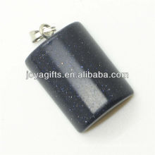 Semi precious blue gold stone rectangle pendant with high quality