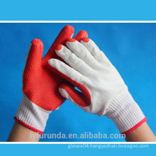 10 gauge bleached white cotton knitted gloves coated with rubber palm