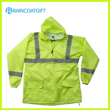 Fluorescence Color Waterproof Nylon PU Rain Jacket with Reflective
