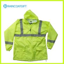 Veste de pluie en nylon imperméable d'unité centrale de couleur de fluorescence avec le réfléchissant