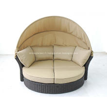 chaise longue rotin extérieur avec auvent