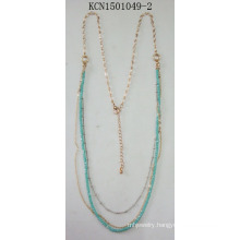 Double Metal Gold Plated Necklace with Blue Beads