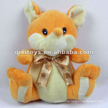 yellow lovely plush fox stuffed animals with bowknot