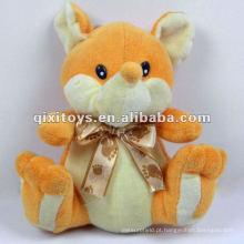 amarelo adorável pelúcia raposa bichos de pelúcia com bowknot