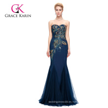 Grace Karin de longitud completa sin tirantes cariño azul marino sirena Peacock Prom Dress 2016 GK000080-4