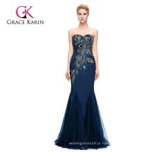 Grace Karin Full-Length Strapless Sweetheart Azul marinho Mermaid Peacock Prom Dress 2016 GK000080-4