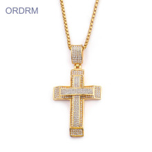 Kalung Lelaki Stainless Steel Crystal Gold Cross Necklace