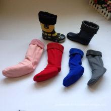 Moda y venta caliente en calcetines de invierno Rain Boot, Fleece Welly calcetines con puño de punto