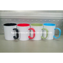 Tasse en plastique revêtue de sublimation de 11 oz, tasse de couleur en plastique revêtue de sublimation