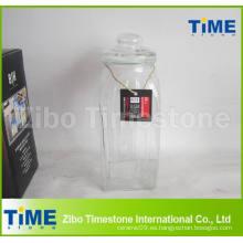 Frasco de almacenamiento de vidrio sellado de 68 oz con tapa de cristal