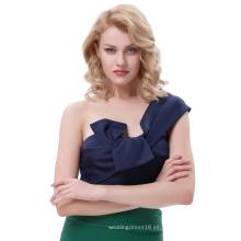 Belle Poque Sexy Mujer Asimétrica De Un Hombro De Lazo De Lazo Grande Decorado Corte Azul Marino Tops BP000343-3