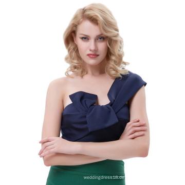 Belle Poque Sexy Frauen Asymmetrische Eine Schulter Große Bow-Tie Verziert Geerntet Navy Tops BP000343-3
