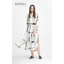Square Print Fashion Shirt Women Dress